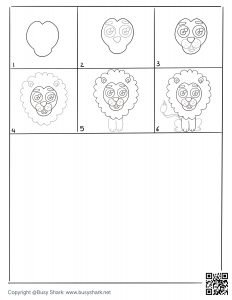 How to draw lion in 6 steps drawing practice free printable page