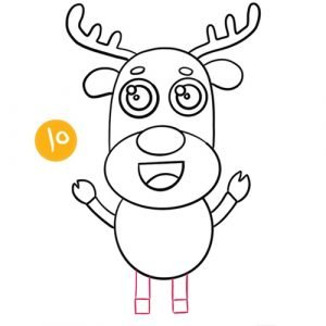 step 10 to draw a reindeer