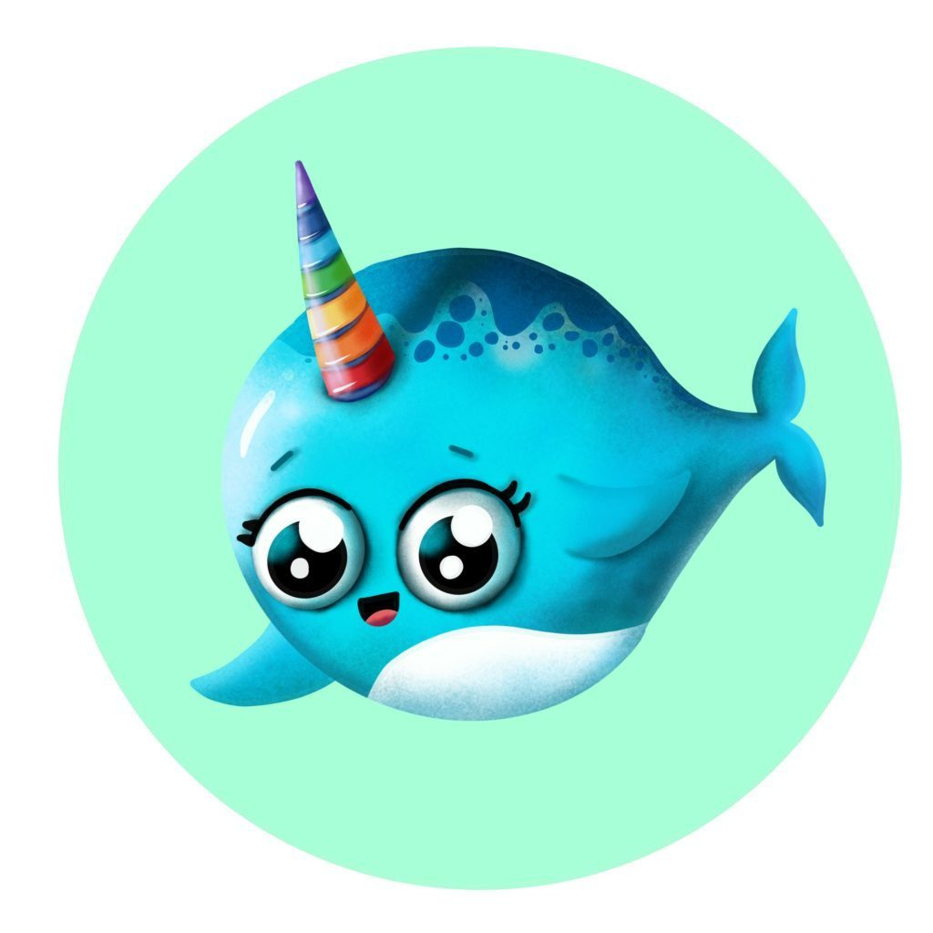 How to draw narwhal the unicorn of the sea step by step cartoon drawing for kids