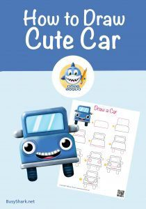 How to draw a car step by step tutorial , cute and easy cartoon drawing for kids