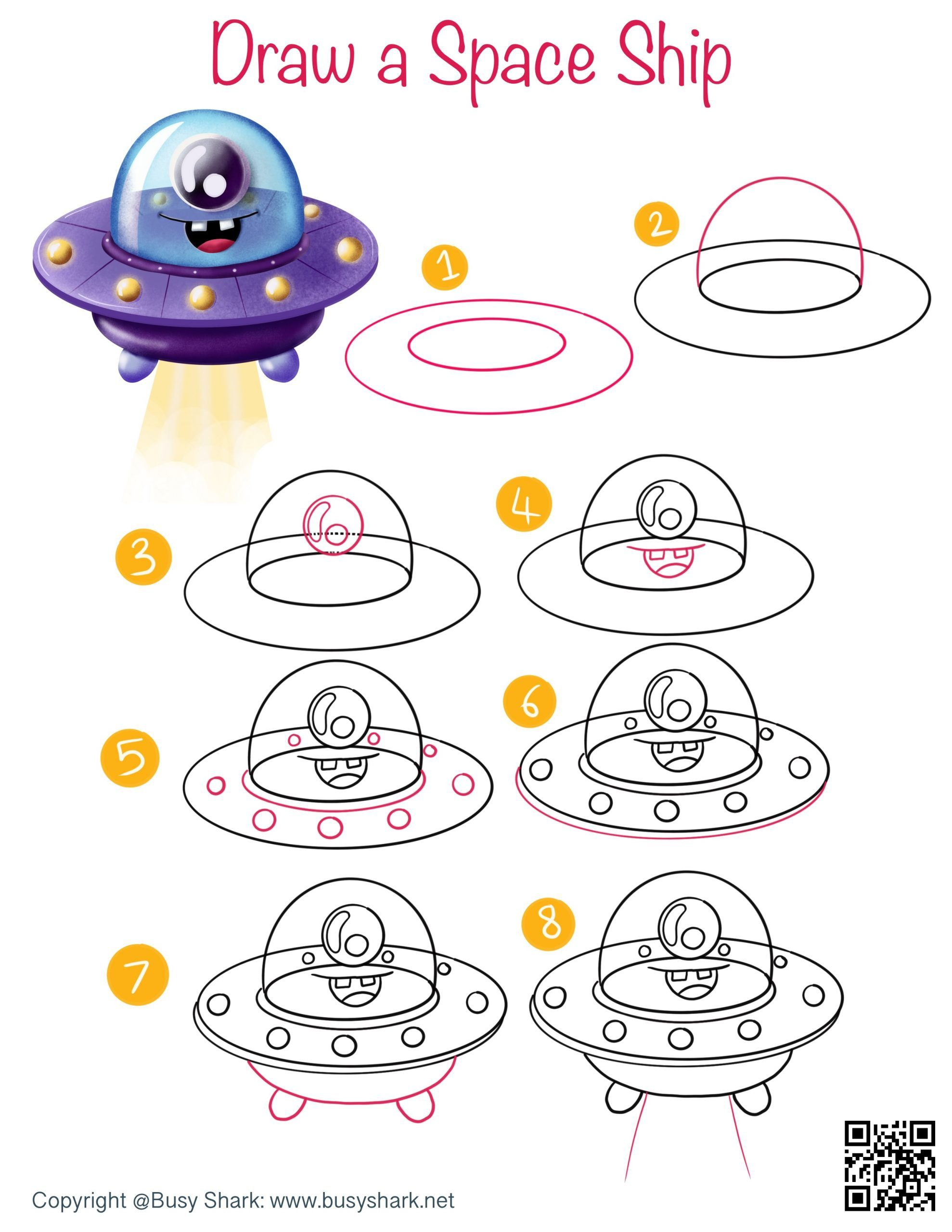 Draw a space ship step by step cartoon drawing for kids