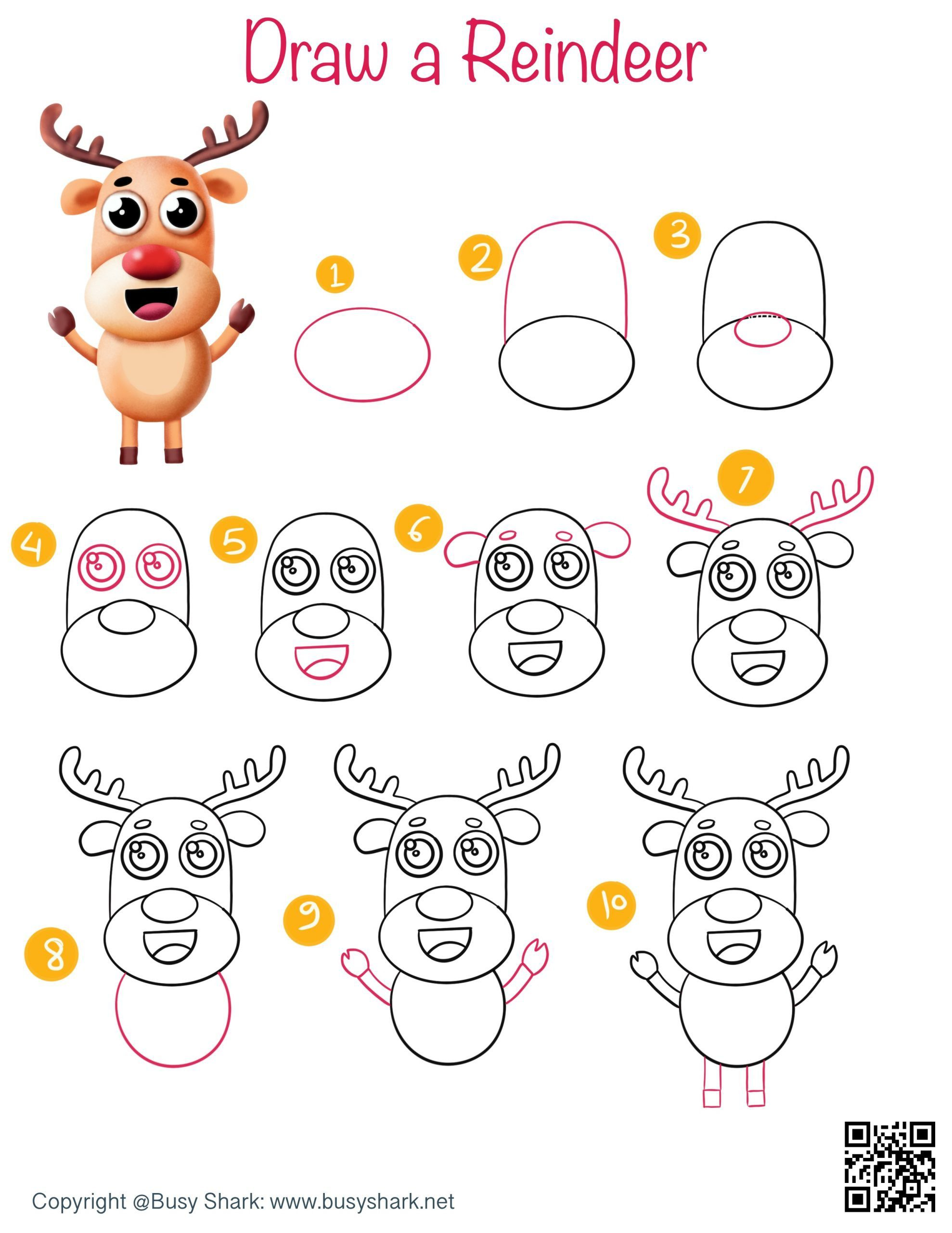 How to draw a reindeer step by step tutorial , cute and easy cartoon drawing for kids