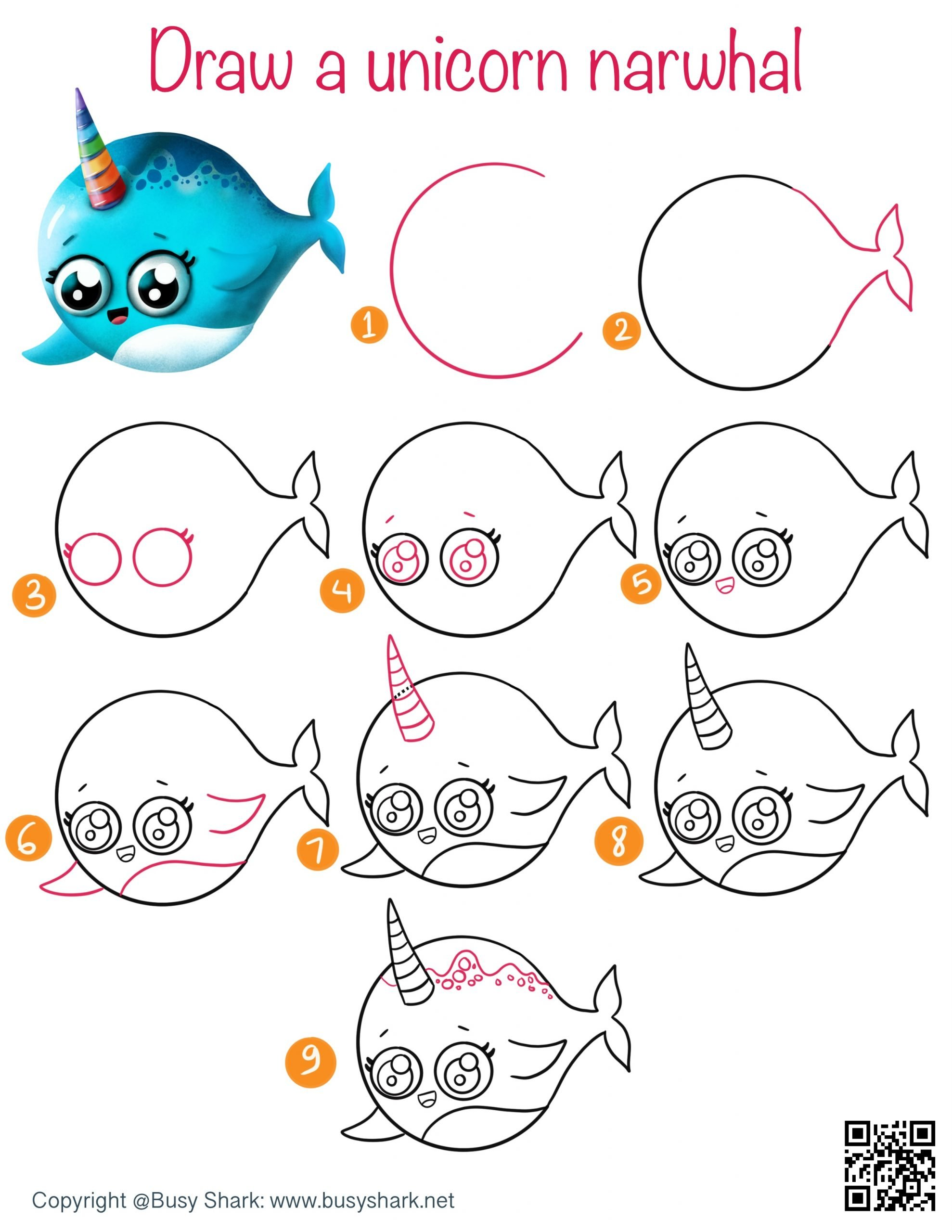 How to draw a narwhal the unicorn of the sea step by step cartoon drawing for kids
