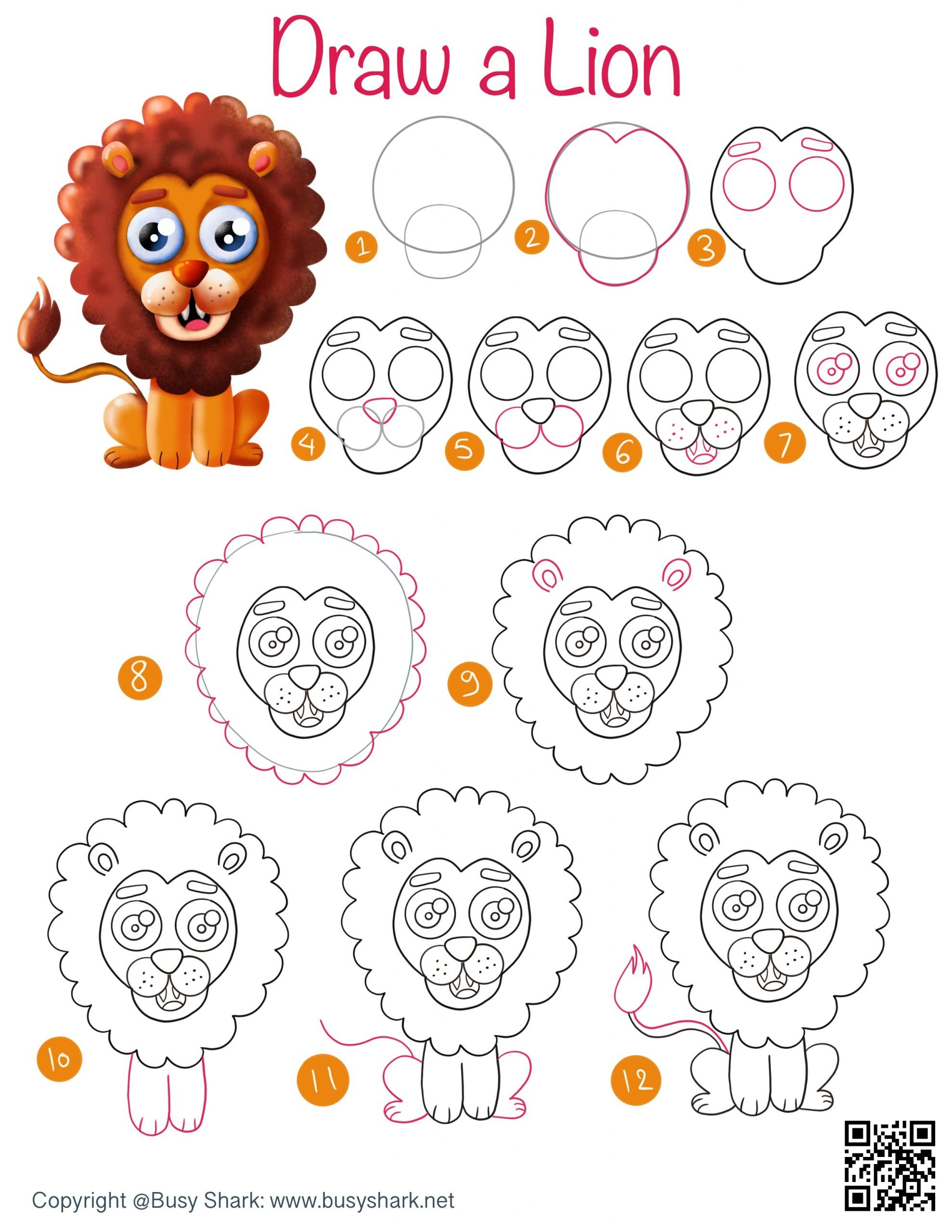 How to draw a lion , step by step cartoon drawing for kids