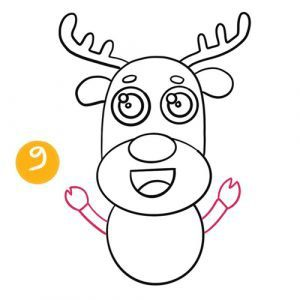 step 9 to draw a reindeer