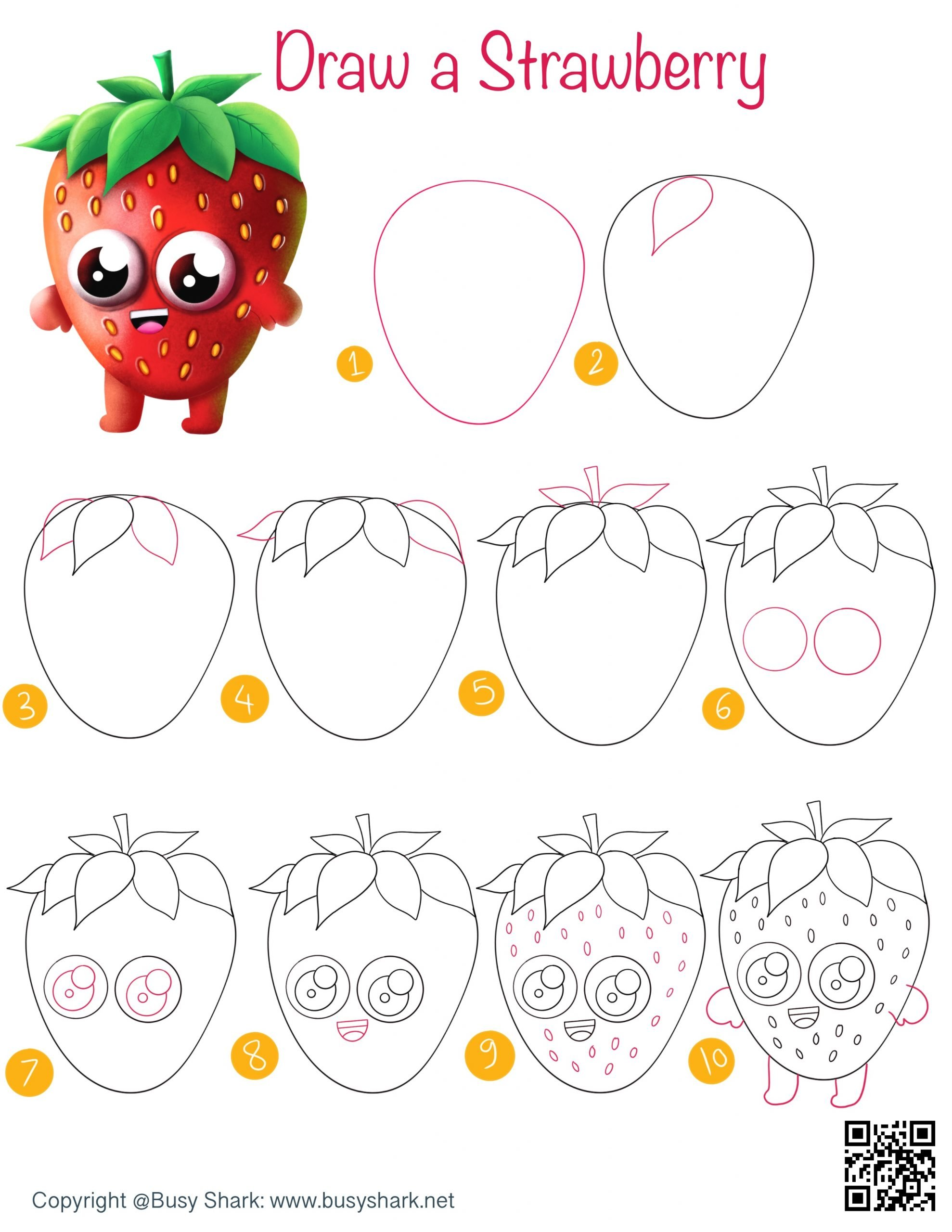 Strawberry cartoon drawing tutorial for kids step by step