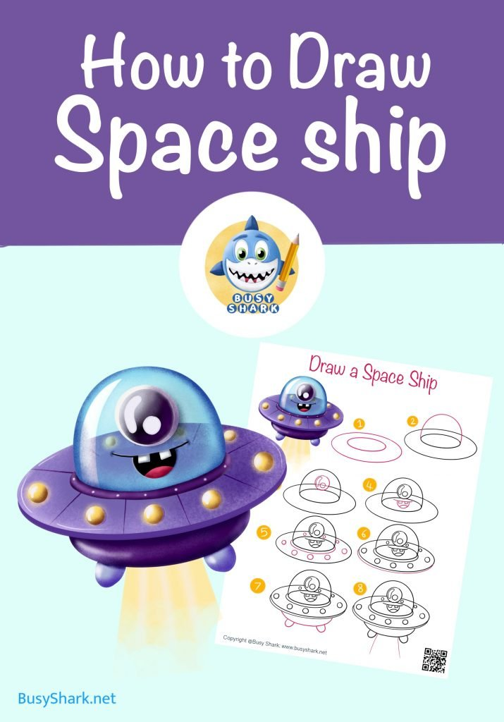 Cartoon drawing for kids and beginners How to draw a spaceship step by step