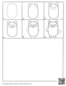 Free printable drawing practice page for a cute cat