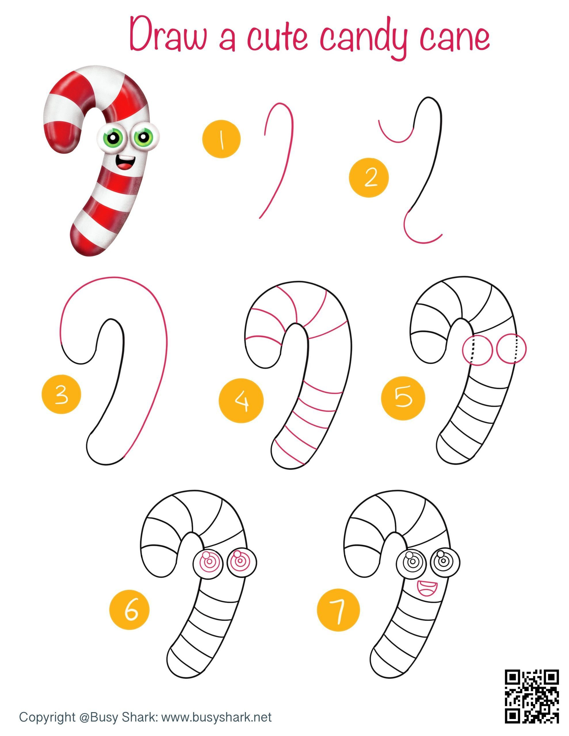 How to draw a candy cane directed drawing step by step tutorial , winter drawing activity