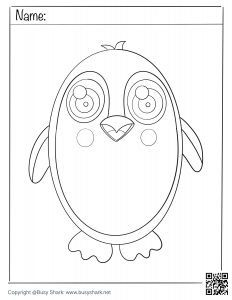 download coloring penguin page,free printable activity for kids and beginners