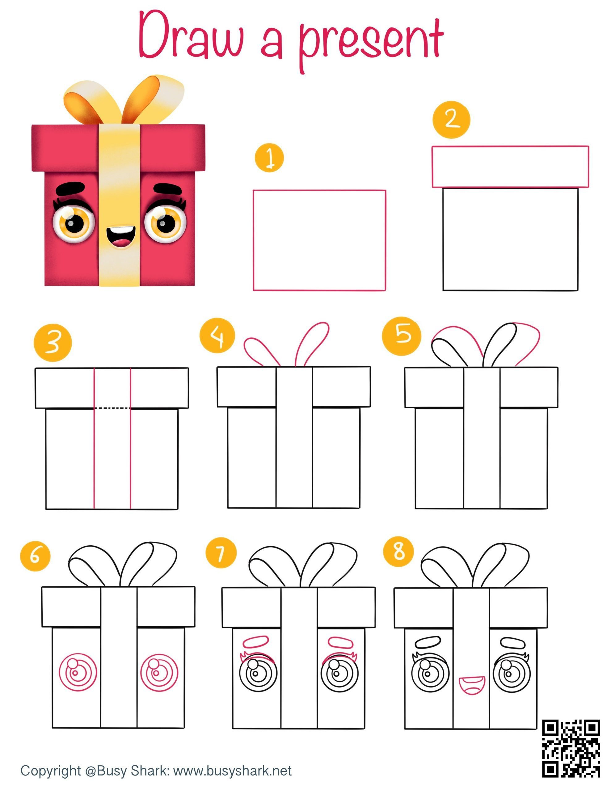 How to draw a present directed drawing step by step tutorial , simple cartoon drawing