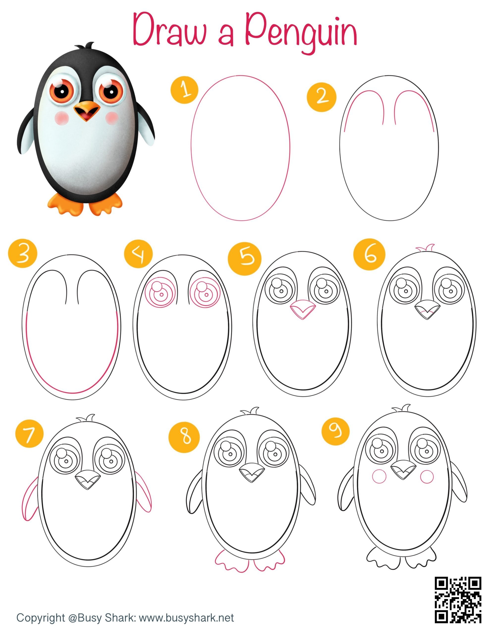 How to draw a penguin directed drawing step by step tutorial , winter drawing activity