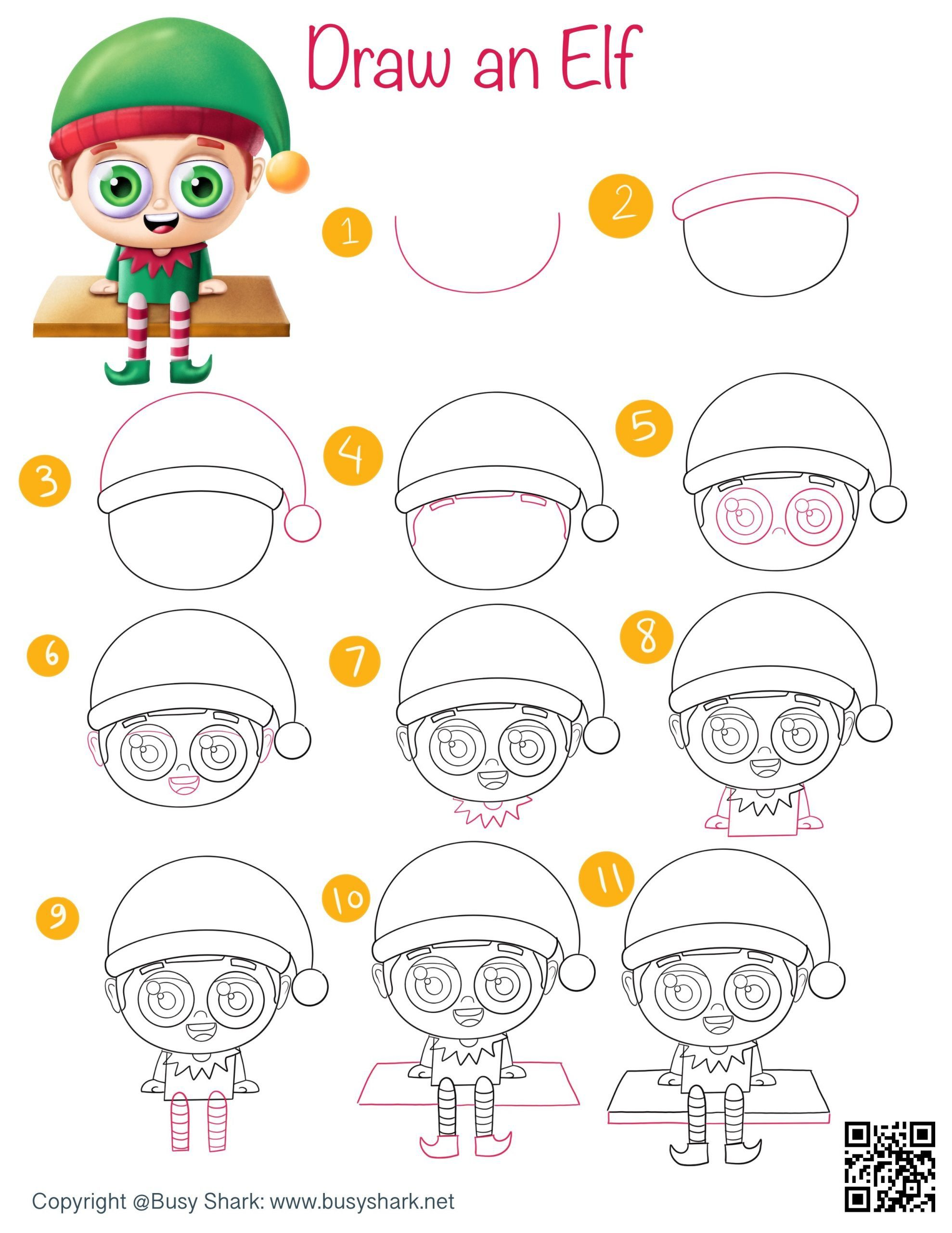 how to draw an elf on a shelf step by step tutorial