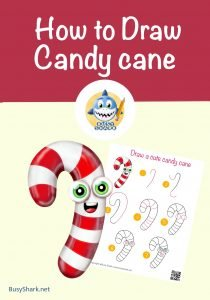 how to draw cute candy cane step by step directed drawing , simple cartoon drawing