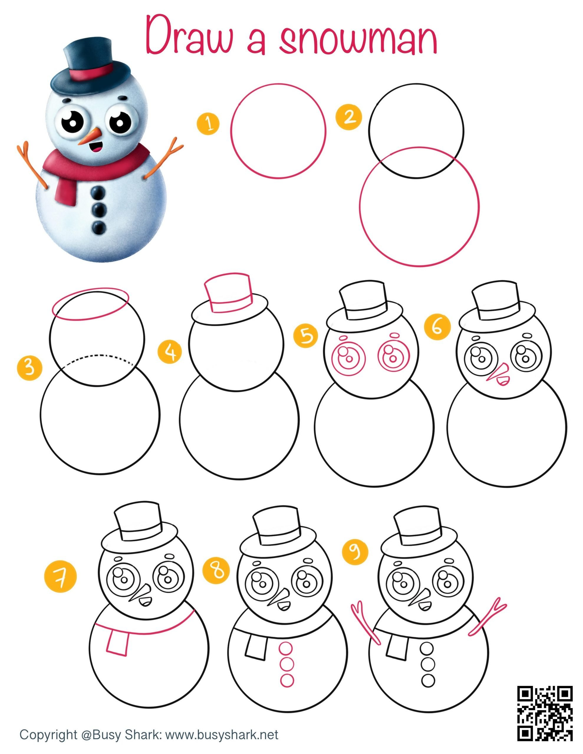 How to draw a snowman step by step easy drawing tutorial