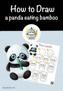 Directed drawing step by step how to draw a panda eating bamboo simple cartoon drawing