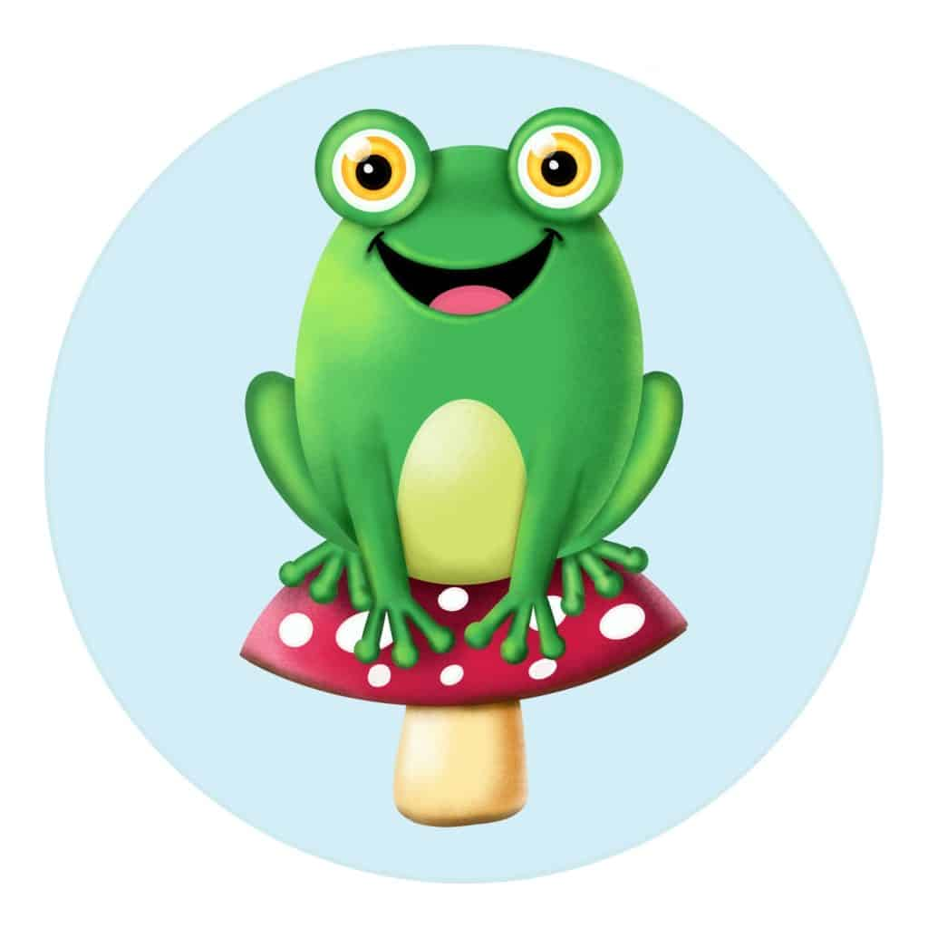How to draw a frog on a mushroom, step by step simple cartoon drawing for kids