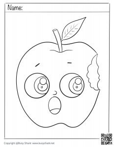 free an apple with a bite coloring page