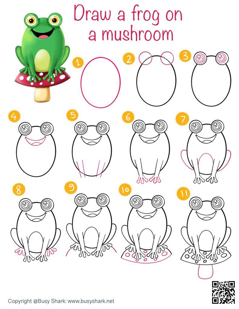 Directed drawing how to draw a frog on a mushroom