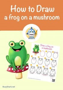how to draw a frog on a mushroom step by step simple cartoon drawingcover