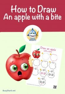 step by step tutorial to draw an apple with a bite cover photo