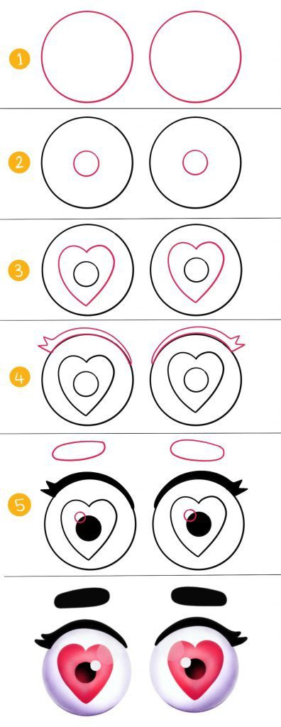 How to draw heart eyes or love eyes expression step by step easy tutorial