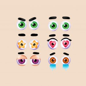 how to draw cute eyes with different expressions