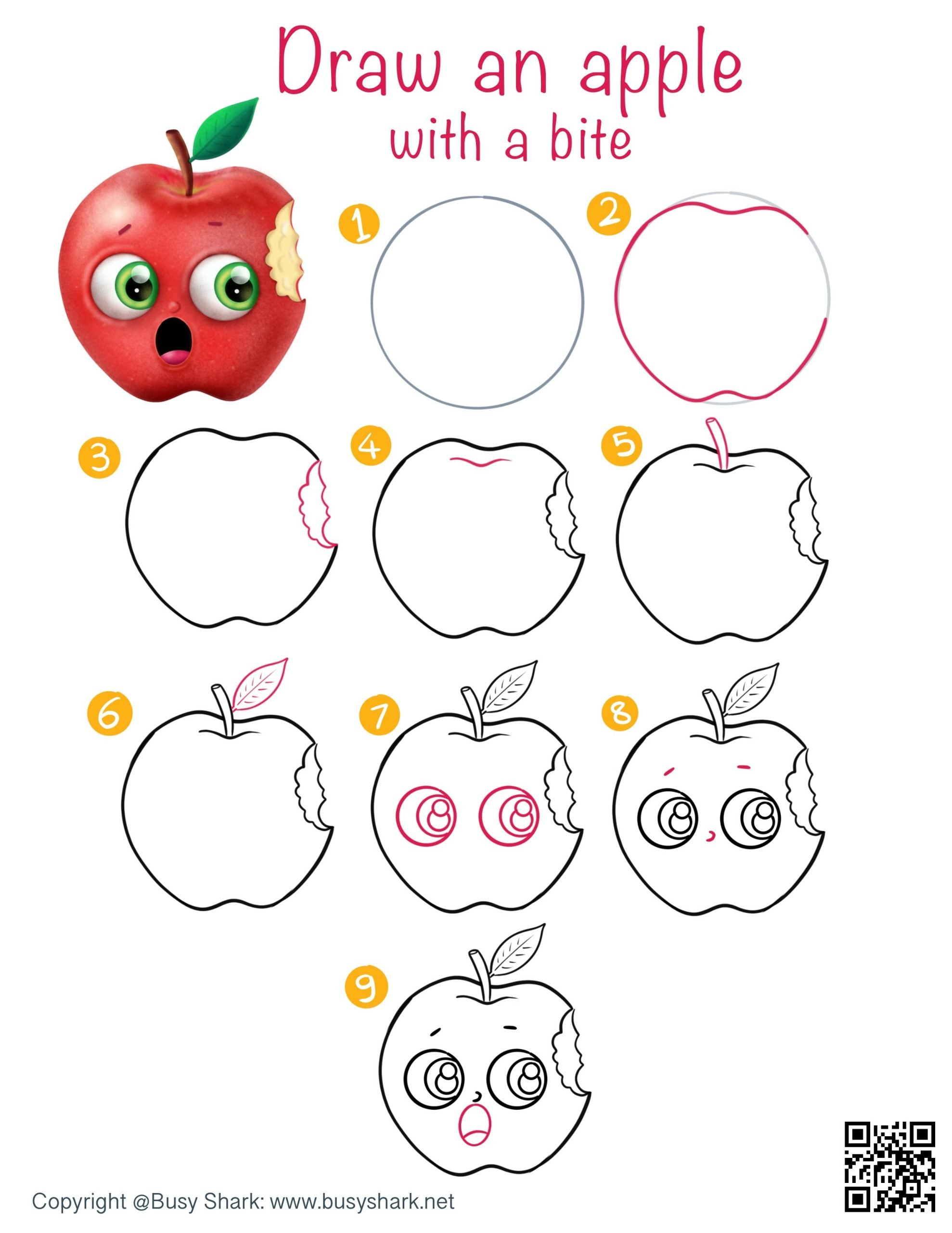 directed drawing step by step tutorial for an apple with a bite