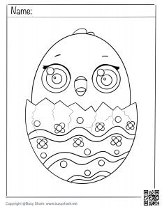 download free coloring page for a chick hatching from an egg , art activity for spring and Easter