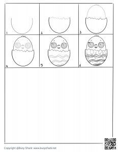 download free drawing page for a chick hatching from an egg , 6 steps