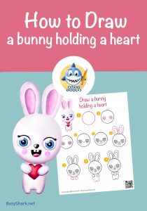 How to draw a bunny holding a heart , step by step cartoon drawing for kids
