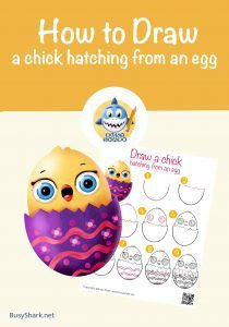 How to draw a chick hatching from an egg , step by step cartoon drawing for kids for spring and easter