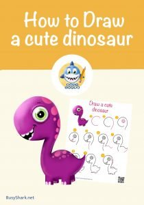 How to draw a cute dinosaur , step by step cartoon drawing for kids