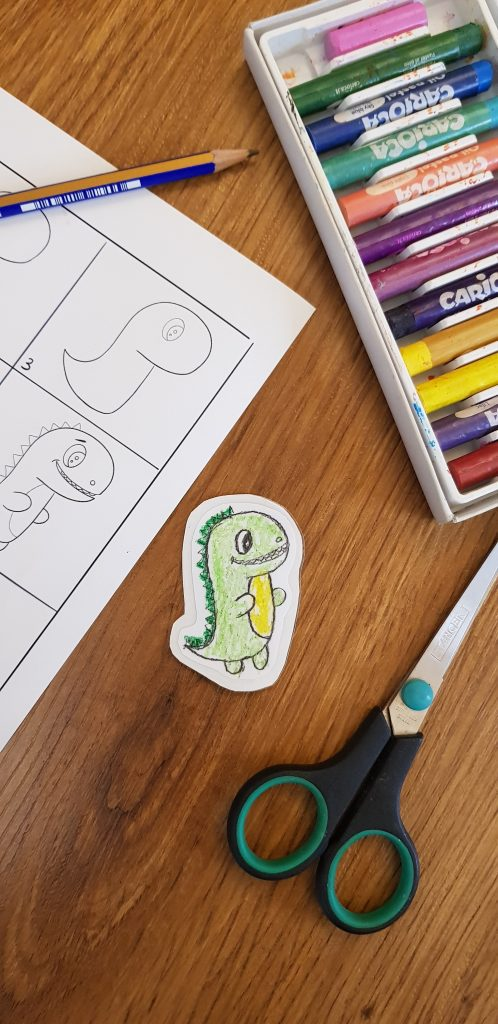 trex dinosaur sticker , a sticker diy from your drawing