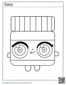Free coloring page for a cute kawaii Nutella jar