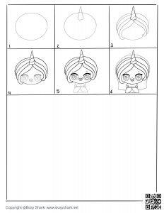 Practice drawing the unicorn princess with this free drawing guide pages , 6 steps only