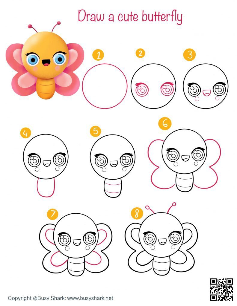 Drawing guide how to draw a cute cartoon kawaii butterfly easygoing spring and Easter