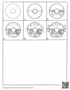 download free drawing page for a Dragon donut , 6 steps