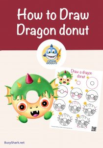 How to draw a cute cartoon dragon donut step by step drawing guide super easy
