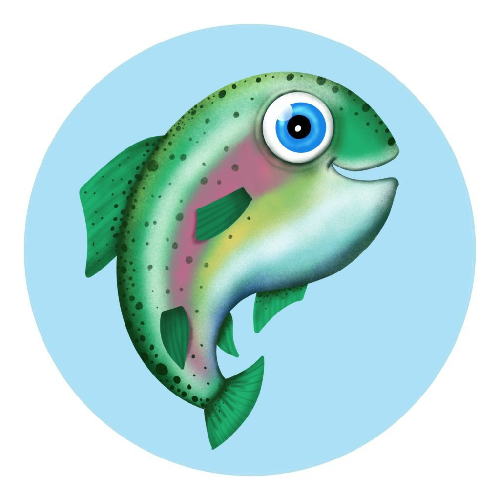 How to draw a cute cartoon rainbow trout fish , step by step cartoon drawing for kids