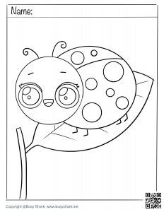 Free coloring page for a cute ladybug on a leaf