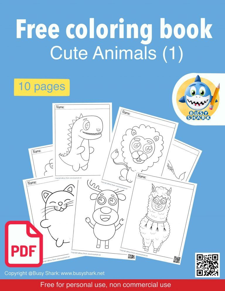 Free download cute animals coloring book for kids
