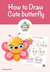 How to draw a cute cartoon kawaii Butterfly step by step drawing tutorials or spring and Easter season