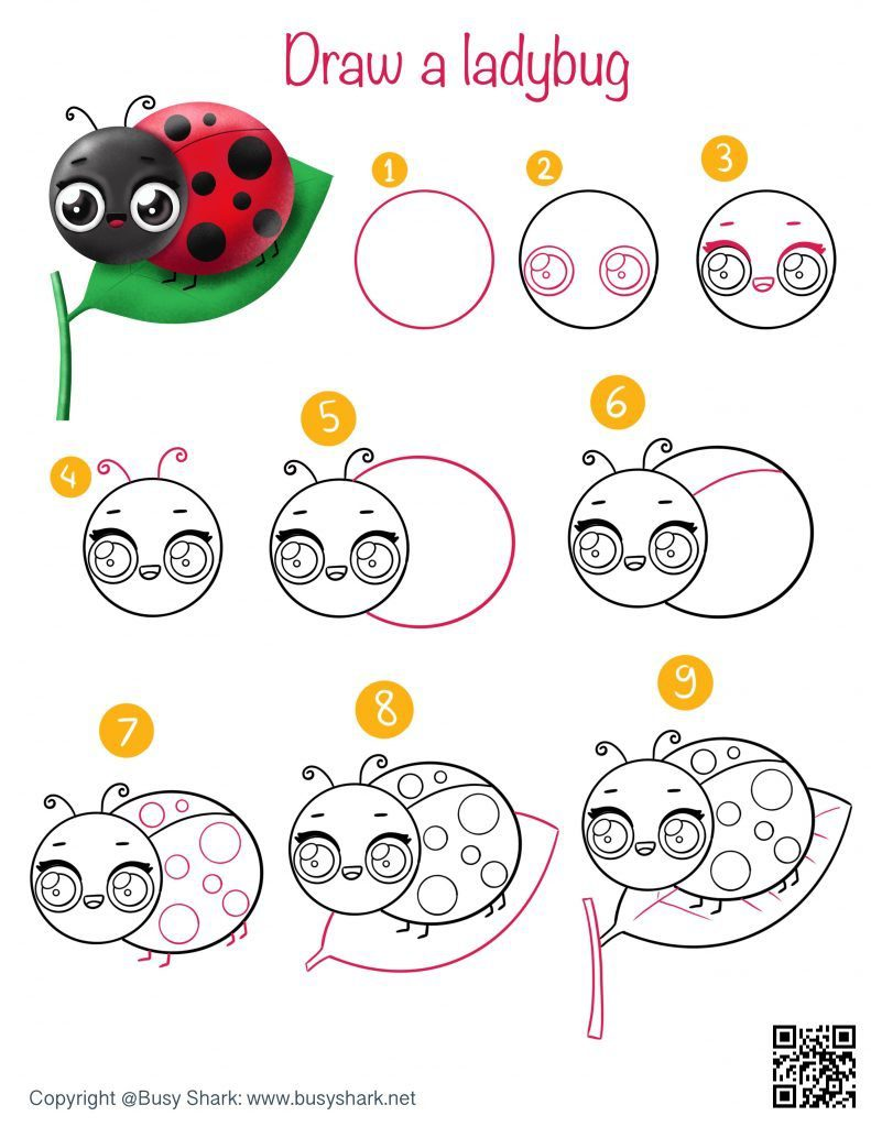 Drawing guide how to draw a cute cartoon kawaii ladybug on a leaf easy spring and Easter season art activity