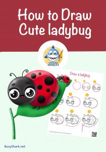 How to draw a cute cartoon kawaii Ladybug on a leaf step by step drawing tutorials or spring and Easter season