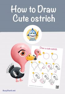 How to draw a cute cartoon ostrich , step by step cartoon drawing for kids