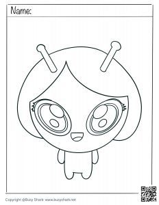 Download free cute alien girl coloring page