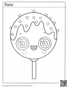 Free coloring page for a cute cake pop