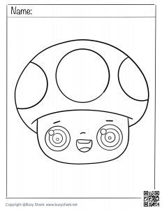 Free coloring page for a cute mushroom