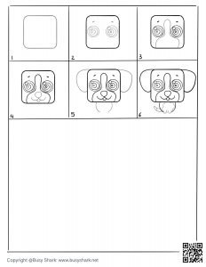 download free drawing page for a cute puppy , 6 steps